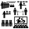 Set pictograms representing moviegoers cinema Royalty Free Stock Photography