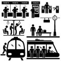Set pictograms representing people train station subway Royalty Free Stock Photography