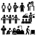 Set pictograms representing people working factory Royalty Free Stock Photography