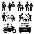 Set pictograms representing police station scenario Stock Photos