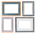 Set of picture frame with mat cutout canvas isolated on white background Royalty Free Stock Image