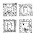 Set picture frames with animals portrait, hand drawn vector illustration
