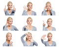 Set of pictures of woman with different gestures and emotions nine pretty young isolated on white Royalty Free Stock Photos