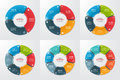 Set of pie chart circle infographic templates with 3-8 options.