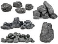 Set of piles of coal on white background Stock Photo