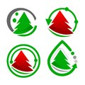 set Pine Tree Logo Vector