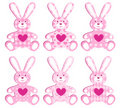 Set of pink applique hare. Stock Image