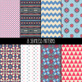 Set of pink and blue patterns