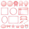 Set of pink decorations pink simple frame Royalty Free Stock Photos