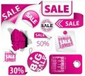 Set of pink discount elements Stock Photos