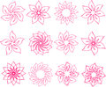 Set of pink flowers petalled flower design elements Stock Images