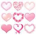 Set of pink hearts Royalty Free Stock Photography
