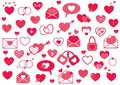 Set of pink hearts, set love elements