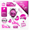 Set of pink sale tickets and labels Stock Image