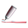 Set of pink toothbrush and toothpaste Royalty Free Stock Photo