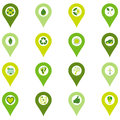 Set of pinpoint icons of bio eco environmental related symbols sixteen in four shades green Royalty Free Stock Photos