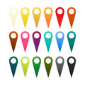 Set of pins isolated in different colors Royalty Free Stock Photo