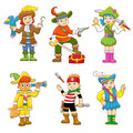 Set of pirate child cartoon eps file no gradients no effects no mesh no transparencies all in separate group for easy editing Stock Images