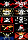 Set of pirate flags jolly roger vector three sheets Royalty Free Stock Image