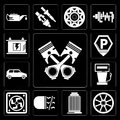 Set of Piston, Alloy wheel, Car parts, Fog light, Frost, Gas station, Car, Parking, Battery, editable icon pack Royalty Free Stock Photo