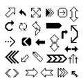 Set of pixel arrow symbol black digital Royalty Free Stock Photography
