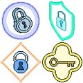 pixel art isolated key lock protection Royalty Free Stock Photo