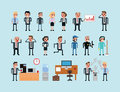 Set of pixel art people icons, office work vector Royalty Free Stock Photo