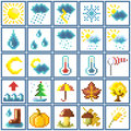 Set of pixel icons weather and autumn Stock Photo