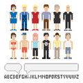 Set of pixel people Stock Photography