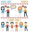 Set of pixel people, words, hearts.