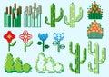 Set of pixel plants