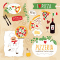 Set of pizza design elements collection Stock Photography