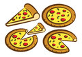 Set pizza icon isolated white background Stock Photography