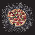 Set of pizza ingredients in doodle style isolated