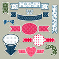 Set of plain design elements paper cut Stock Image