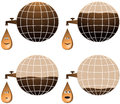 Set planet and cartoon petroleum drop Stock Photography
