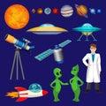 Set of planets, scientist, flying rocket, speaking aliens, telescope vector Royalty Free Stock Photo