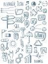 Set of planner icon doodles. Hand drawn sketched. Vector Illustration.