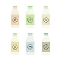 Set of plant based milk bottles.