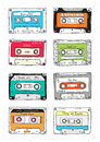 Set of plastic cassette, audio tape with different music. Hand drawn retro illustration.