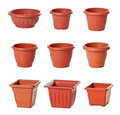 Set of plastic flowerpots for indoor plants Stock Photography