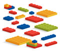 Set of plastic lego pieces or constructor illustration Stock Photo