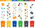Set of sorting bins for garbage of different colors illustration in a flat design. Royalty Free Stock Photo
