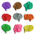Set of plasticine colorful speech bubbles. Modeling clay handmade talk clouds