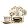 Set of plates and cups Royalty Free Stock Photo