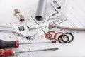 Set of plumbing materials Royalty Free Stock Photo