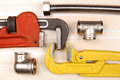 Set of plumbing and tools Royalty Free Stock Photo