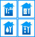 Set of plumbing water icons Stock Photos