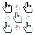 Set of point hand gestures real hand drawn ink brush created with scanned and vectorized collection monochrome drawing Royalty Free Stock Photo