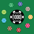 Set poker chips on poker table green color. Vector illustration Royalty Free Stock Photo
